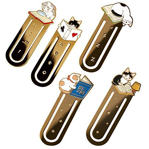 5 pezzi simpatico fumetto gatto forniture per ufficio scuola segnalibro del segnalibro del metallo rivista epoca segnalibro cancelleria