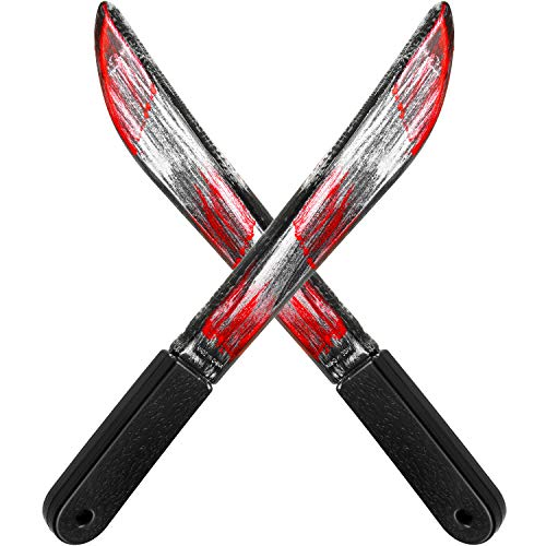 Sumind 2 Pieces Halloween Bloody Butcher Knife Prop Machete Costume Prop Fake Realistic Bleeding Knife Toy for Halloween Party Zombie Costumes and Cosplay