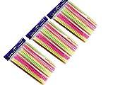 Golden Beads Pajitas de plástico Flexible, 100 – 300 Paquetes, a Rayas, BPA, Desechables, Pajita Flexible de 8 Pulgadas de Largo, Fluorescente, 20,3 cm