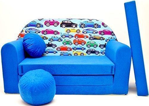 Pro Cosmo C21Kinder Sofa Bett mit Puff/Fußbank/Kissen, Stoff, Mehrfarbig, 168x 98x 60cm