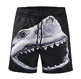 WHLDK La Personnalité De Requin Maillot Timbre Mode 3D Taille De Pantalon Lâche Pantalons Masculin Occasionnels Plage Map Color L Shorts