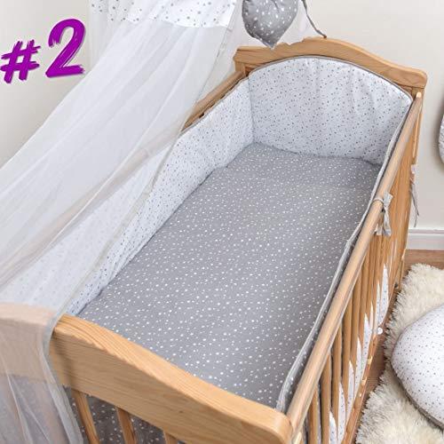 5-teiliges Babybett-Bettwäsche Set mit 4-seitigem Stoßfänger für 120 x 60 cm - Muster 2