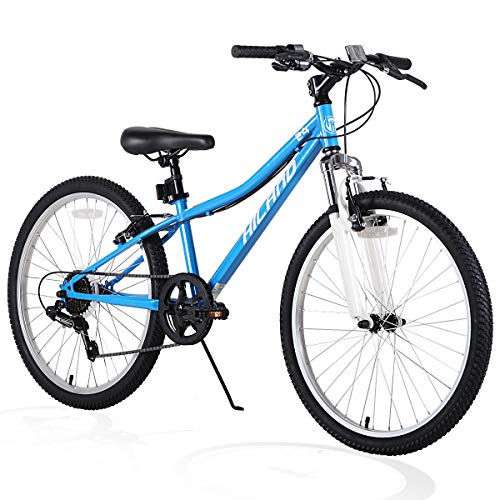 Hiland Climber 24 Inch Children Mountain Bike with Suspension Fork V Brake Bicycle Blue