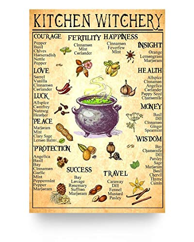"""Robina Fancy Mythical Creatures Inspiration Kitchen Witchery Courage Pepper Basil Chives Horseradish Poster Gift for Men Women, On Birthday Xmas, Art Print Size 12""""x18"""" 16""""x24"""" 24""""x36"""""""