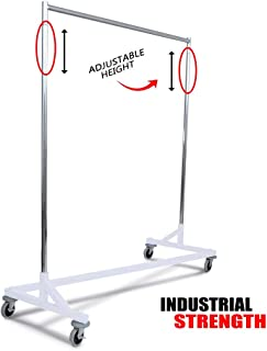 Only Hangers Industrial Strength Z Rack with Built-in Height Extensions - Decorative White Base - Tallest Z Rack Available!