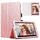 Casewind Fire HD 8 Case Glitter Folio Folding Smart Stand Cover with Holder & Auto Wake/Sleep for All-New Amazon Fire HD 8 Tablet (7th and 8th Generation, 2017 and 2018 Release),Rose Gold