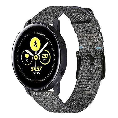 TRUMiRR kompatibel mit Galaxy Watch3 41mm /Galaxy Watch Active2/Galaxy Watch Active/Galaxy Watch 42mm Armband, 20mm Schnellspanner Woven Nylon Uhrenarmband Leder Armband für Garmin Vivoactive 3