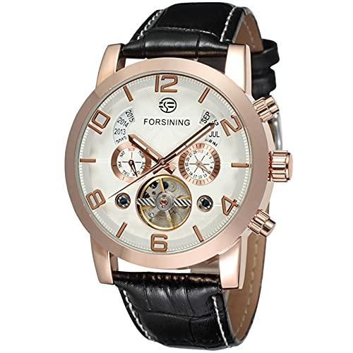 Excellent Relojes para Hombre Strap de Cuero mecánico Gypsophila Tourbillon Relojes automáticos de Pulsera para Hombres Mens Skeleton Mecánico Mecánico Reloj,A05