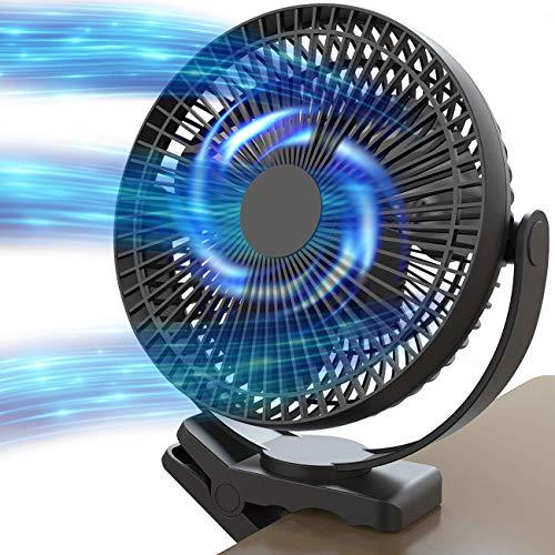 Gazeled 10000mAh Rechargeable Clip Fan, 8 Inch Usb Clip Fan, Battery Operated Fan, 10000mAh Rechargeable Personal Fan, 4 Speeds & 10W Fast Charging, Portable Fan USB Fan for Baby Stroller Office Golf Cart Car Gym Treadmill, 2 in 1 Desk Fan Clip Fan