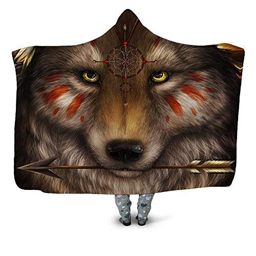 BHFDCR Hooded Blanket Yellow wolf Printed Throw Blanket for Kids Adults Soft Warm Microfiber Sherpa Fleece 3D Solid Nap Blanket for Bed, Couch and Travel (50x60 inch)