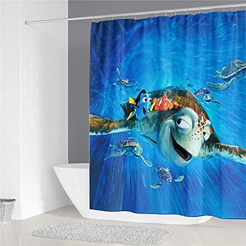 Duschvorhänge Anime Findet Nemo Duschvorhang Grün Wasserdicht Anti-Schimmel, Anti-Bakteriell Kinder Badewanne Duschvorhang mit 12 Duschvorhangringe Design 180 x 200cm