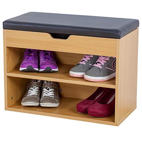 Albatros Mueble para Zapatos Vito, Haya, 60 cm, Asiento con cojín, Acolchado