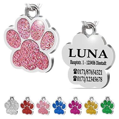 Iberiagifts - Hundemarke Pfote mit Gravur für kleine bis mittelgroße Hunde oder Katzen - Plakette graviert personalisiert (Rosa)
