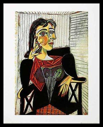 Pablo Picasso Portrait of Dora Maar Poster Kunstdruck Bild im Alu Rahmen in schwarz 50x40cm