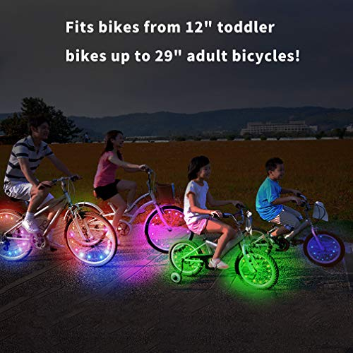 TINANA LED Bike Wheel Lights Ultra Bright Waterproof Bicycle Spoke Lights Cycling Decoration Safety Warning Tire Strip Light for Kids Adults Night Riding -1Pack (Multi-Color)