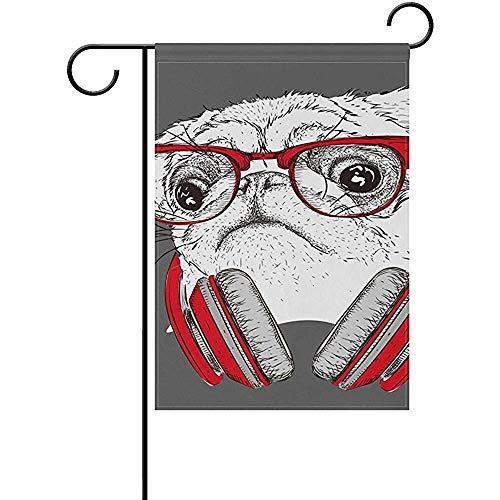 GWrix Dubbelzijdige Yard Flag,Huis Vlag,Vakantie Seizoensgebonden Outdoor Vlag,Tuin Vlaggen,Leuke Hond Pug Koptelefoon 45,7 X32 Cm,Decoratieve Welkom Vlag,Home Decor Banner