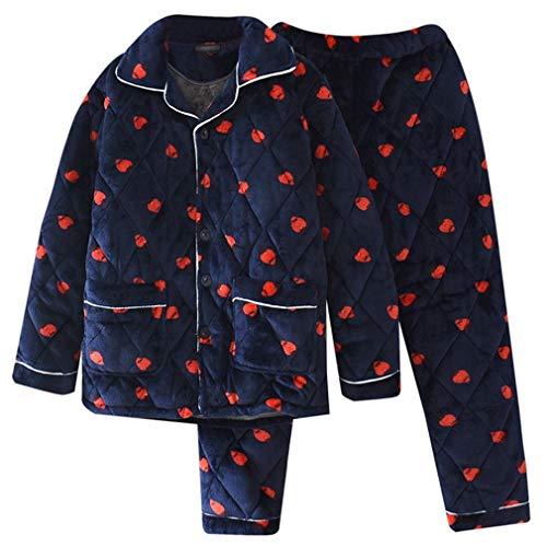 Autumn and winter pajamas Pijama de Invierno de Tres Capas de los Hombres de Coral Grueso Terciopelo Acolchado Pijamas, además de Terciopelo Acolchado Chaqueta Caliente del Juego de Servicio Inicio
