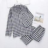 XFLOWR Plaid Couple Indoor Women Cotton Pyjamas Men Home Sleepwear Casual 100% Cotton Male Long-Sleeve Pyjamas Women L Men Navy Plaid