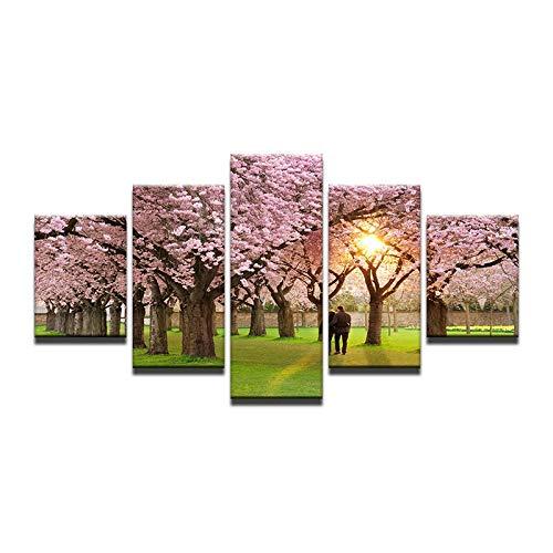 MAOYYM1 5 bord kaart roze perzik lieve liefhebbers hand in hand te houden linnen schilderij hedendaagse huishoudversiering Hd Prints No Frame 20x35 20x45 20x55 cm