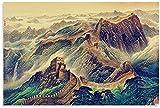 DINGDONG ART Lienzos De Fotos 60x80cm Sin Marco Sitio histórico de la civilización China: póster de Gran muralla, Arte Decorativo para Pared, Carteles para Sala de Estar, Dormitorio