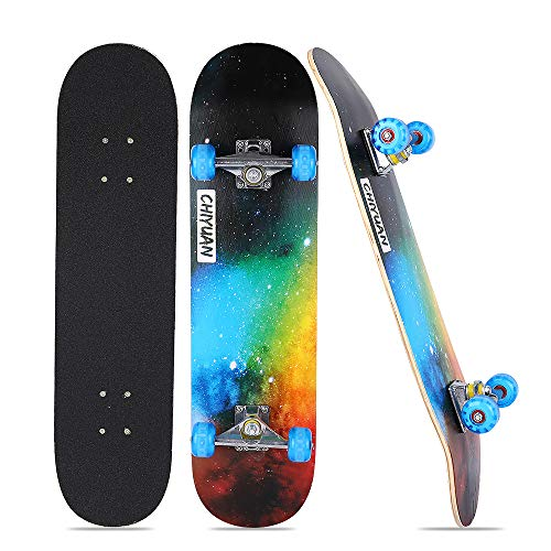 Bonvenon Skateboard, 31 x 7.8 Inch Cruiser Skateboards with 8 Layer Maple Wood PU Flash Wheel Double Kick Concave Complete Skateboard for Beginners and Youth Standard Skateboards
