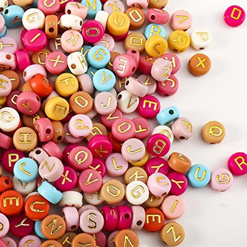HERZWILD buchstabenperlenzum auffädeln ca.1000pcs 4x7mm bunt Buchstaben perlen viereckig bastelnperlen Buchstaben A-Z perlen für Schmuck Basteln (4*7 gold)