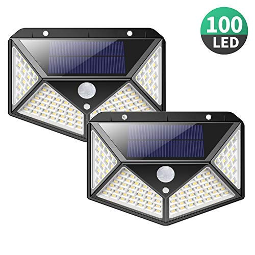 Solar Lights Outdoor [100 LEDs],Yacikos IP65 Waterproof Wireless Motion Sensor Lights,270°Wide Angle,Easy-to-Install Security Wall Lights with 3 Modes for Yard,Stairs,Garage,Fence,Porch(2 Pack)