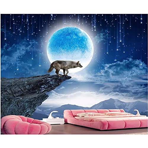 Papel tapiz 3d luna llena noche montaña luna lobo TV mejora de fondo mural de pared 3d papel tapiz pared 3 d 400x280cm