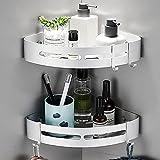 Yeegout Estantes de Esquina de baño sin Taladro con Ganchos extraíbles Almacenamiento de Carrito de Ducha Adhesivo de Aluminio (Esquina)