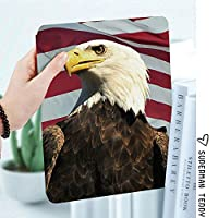 IPad 2/ iPad 3/ iPad 4 ケース - Apple iPad 2/3/4 第二世代 第三世代 第四世代タブレット用 PC + PUレザー 2つ折スタンドケース装飾的な地平線に探している国のシンボルとアメリカ合衆国の国旗