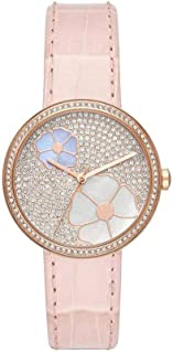 Michael Kors Watches Womens Courtney Rose Gold-Tone and Blush Croco Leather