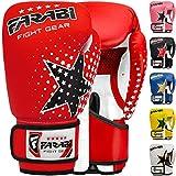 Farabi - guantes de boxeo para niños de 6 oz, guantes de entrenamiento de kickboxing muay thai para entrenamiento de MMA, los mejores guantes para entrenar en saco de boxeo, almohadillas de enfoque para práctica (Red, 6-oz)