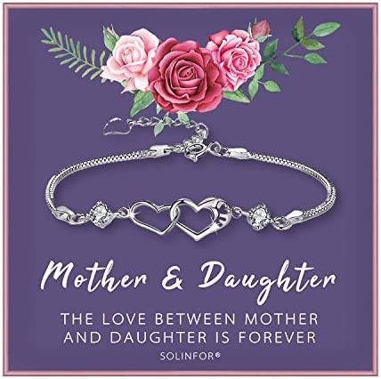 SOLINFOR Mother Daughter Bracelet Sterling Silver Jewelry with Gift Wrapping Card Gifts for product image