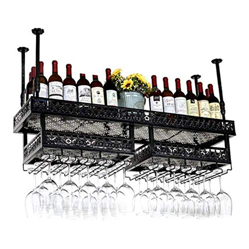 AERVEAL Wine Shelf Restaurant Wine Rack, Wine Rack Decorativo, Wine Racks European Bar Creative Glass - Negro- Tamaño: 100 * 31Cm