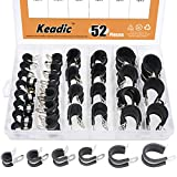 Keadic 52Pcs 1/4' 3/8' 1/2' 5/8' 3/4' 1' Cable Clamp Rubber Wire Clamps Stainless Steel Rubber Cushioned Insulated Clamps Metal Clamp Assortment Kit with Durable Storage Box