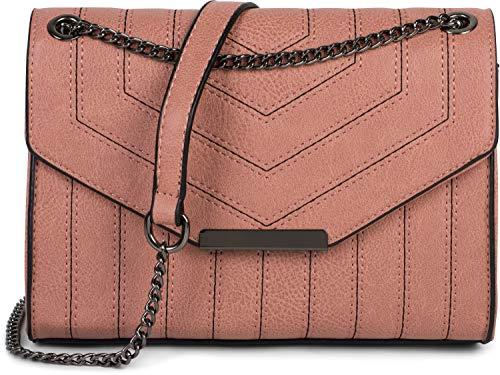 styleBREAKER Damen Umhängetasche mit Ziernähten und Kette, Schultertasche, Handtasche, Tasche 02012308, Farbe:Altrose