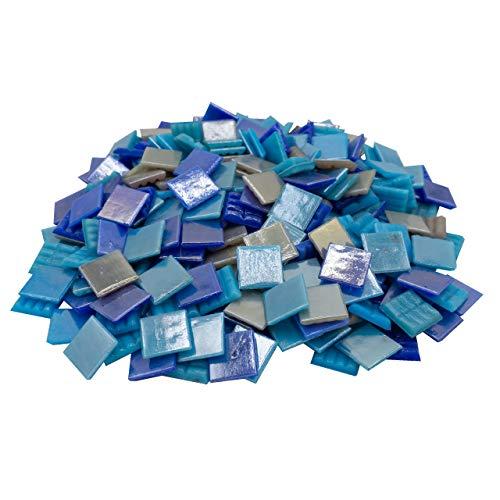 Mosaik-Profis Mosaiksteine Perlmutt Blau (2x2 cm, 900g, ca. 340 St.) - buntes Mosaik ideal zum Basteln - Glasmosaik - Keine Kunststoffverpackung (Perlmutt Blau Mix 1)