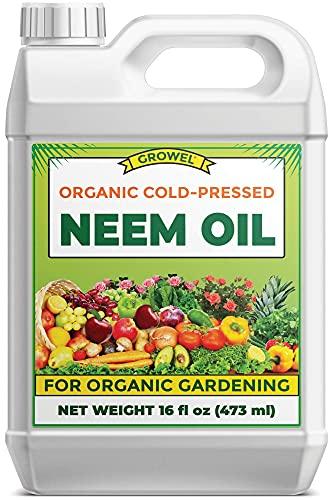 Growel Organic Neem Oil, High Azadirachtin Content Cold Pressed Neem Oil - Neem Seed Oil for Indoor & Outdoor Plants - 16 fl oz