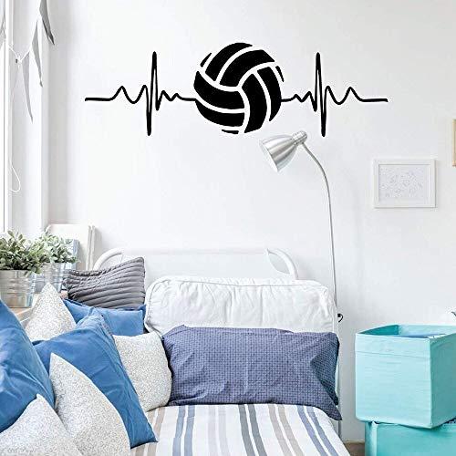 AGjDF Herzschlag Volleyball Wandaufkleber Vinyl Dekoration Aufkleber Schlafzimmer oder Spielzimmer Dekoration Innen abnehmbare Wanddekoration Wandbild 57x18cm