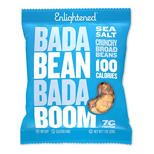 Bada Bean Bada Boom Plant-based Protein, Gluten Free, Vegan, Non-GMO, Soy Free, Kosher, Roasted Broad Fava Bean Snacks, Sea Salt, 1 Ounce (24 Count)