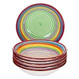 MamboCat 6-TLG. Set di Piatti Ibiza | Piatto Fondo | 700 ml | Ø 21,5 cm | Piatto da Insalata | Ciotola da Portata | Piatto in Terracotta | Colori dell'arcobaleno
