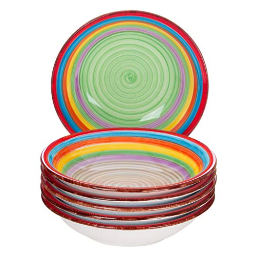 MamboCat 6-TLG. Teller-Set Ibiza   Suppenteller tief   700 ml   Ø 21.5 cm   Salatteller   Servier-Schale   Steingut-Teller   kunterbunte Regenbogen-Farben