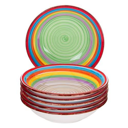 MamboCat 6-TLG. Teller-Set Ibiza | Suppenteller tief | 700 ml | Ø 21.5 cm | Salatteller | Servier-Schale | Steingut-Teller | kunterbunte Regenbogen-Farben
