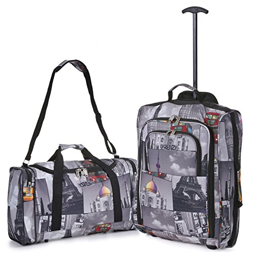 5 Cities Hand Luggage Cabin Bundle Sets, Trolley Bags, Holdall Duffle Bag and Travel Trolley Backpack 2 & 3 Piece Sets for Easyjet/Ryanair! Trolley/Holdall Cities