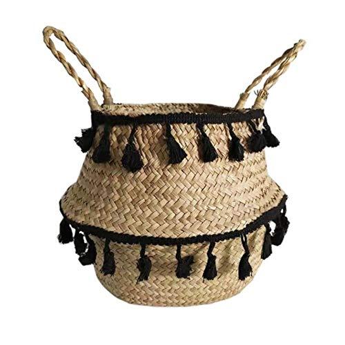 SASDA Seagrass Basket Seagrass Woven Storage Basket Plant Wicker Hanging Baskets Garden Flower Vase Potted Foldable Pot with Handle Storage Basket,Black Tassel,S 19x17cm