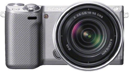 Sony NEX-5RKS kompakte Systemkamera (16 Megapixel,  7,6 cm (3 Zoll) Touchscreen, Full-HD, WiFi) inkl. SEL 18-55mm Zoom-Objektiv silber