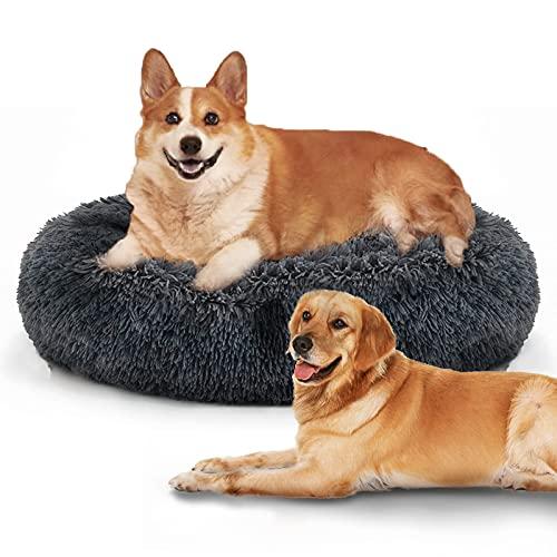 HyAdierTech Cama Gato Cama Perro Extra Suave Cómodo Lindo, Cojín de Gato Lavable de la Cama, Cómodo Suave y Cálida Cama para Mascotas Gatos y Perros Pequeños, 100cm, Gris Oscuro