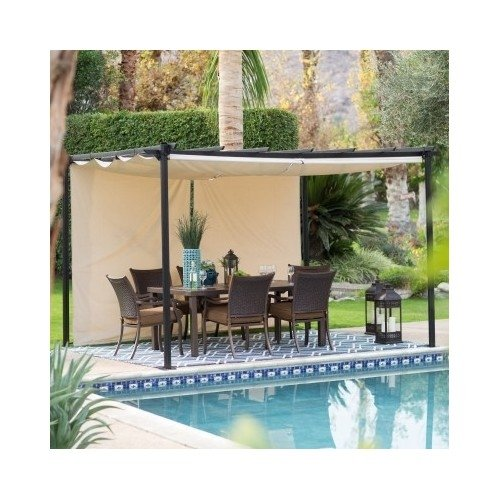 Amazon.com: Steel Pergola Gazebo with Retractable Canopy Shades: Garden &  Outdoor - Amazon.com: Steel Pergola Gazebo With Retractable Canopy Shades
