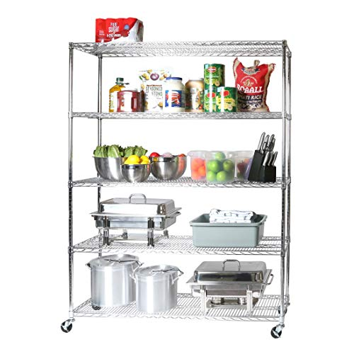 Seville Classics UltraDurable Commercial-Grade 5-Tier NSF-Certified Steel Wire Shelving with Wheels, 60' W x 18' D - Chrome