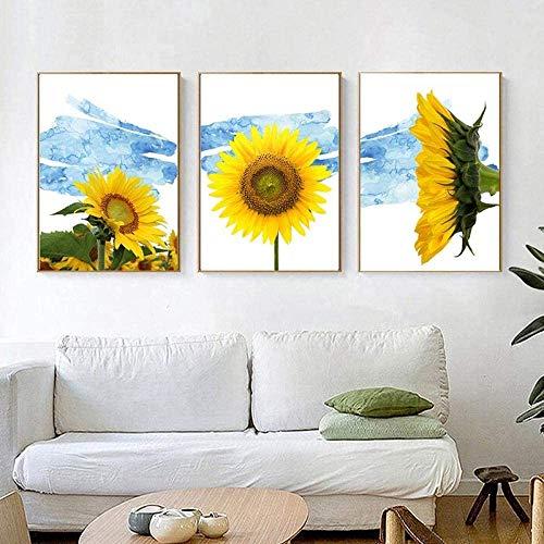 Kribee 3 piezas de arte de pared con paisaje marino azul océano atardecer mar pintura al óleo en la pared Cuadro arte de piedra de alta definición Póster decoración de 50 x 71 x 3 piezas